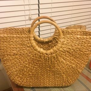 Anthropologie Other - SALE straw bag wooden handles